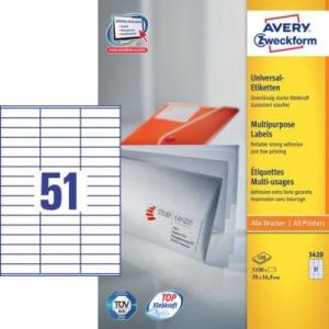 Белые универсальные этикетки из бумаги, 70 x 16.9, 3420
