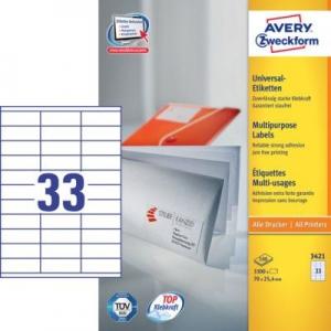 Белые универсальные этикетки из бумаги, 70 x 25.4, 3421