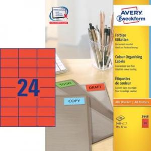Универсальные красные этикетки из бумаги, 70 x 37, 3448