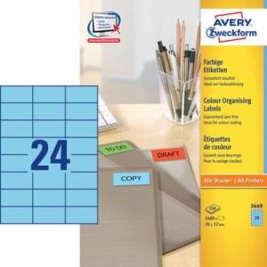Универсальные синие этикетки из бумаги, 70 x 37, 3449