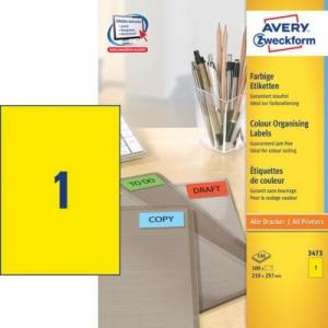 Универсальные жёлтые этикетки из бумаги, 210 x 297, 3473