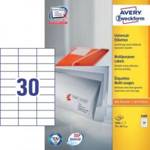 Белые универсальные этикетки из бумаги, 70 x 29.7, 3489