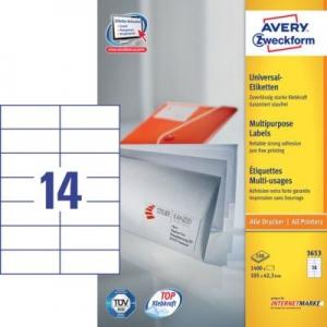 Белые универсальные этикетки из бумаги, 105 x 42.3, 3653