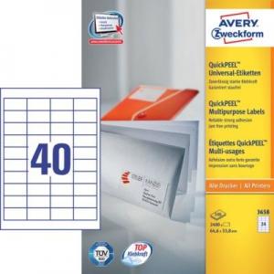 Белые универсальные этикетки из бумаги, 48.5 x 25.4, 3657