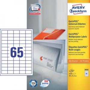 Белые универсальные этикетки из бумаги, 38 x 21.2, 3666
