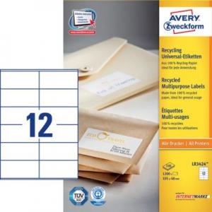 Белые универсальные эко- этикетки из бумаги, 105 x 48, LR3424