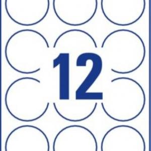 Белые круглые удаляемые товарные этикетки, ? 60, L7104REV-25