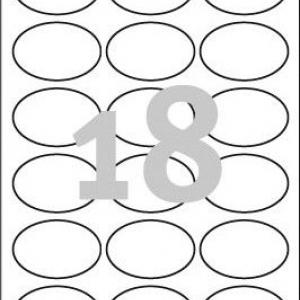 Белые овальные удаляемые этикетки из бумаги, 63.5 x 42.3, L6024REV-25