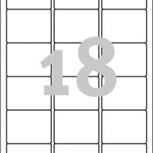 Удаляемые белые этикетки из бумаги, 63.5 x 46.6, L6025REV-25