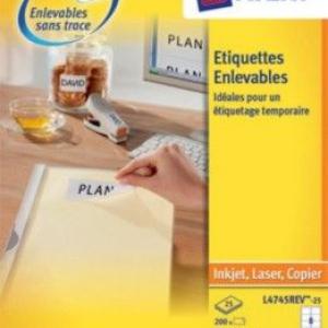 Удаляемые белые этикетки из бумаги, 96 x 50.8, L4744REV-25