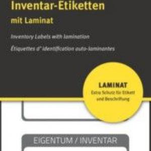 Чёрные ламинированные инвентарные этикетки из полиэстера, 50 x 20, 6901