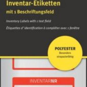 Красные инвентарные этикетки из полиэстера с 1 полем для текста, 50 x 20, 6907