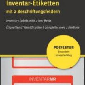 Красные инвентарные этикетки из полиэстера с 2 полями для текста, 50 x 20, 6911