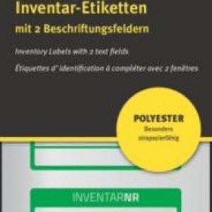 Зелёные инвентарные этикетки из полиэстера с 2 полями для текста, 50 x 20, 6912