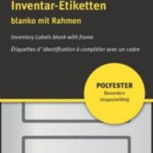 Чёрные чистые инвентарные этикетки из полиэстера, 50 x 20, 6913
