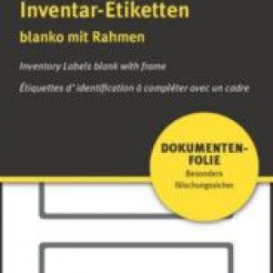 Чёрные чистые инвентарные этикетки NoPeel из ПВХ, 50 x 20, 6919