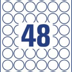 Всепогодные удаляемые этикетки, белые, печать на лазерном принтере, ? 30 мм, 30 x 30, L4716REV-20