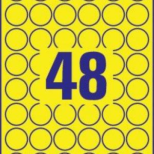 Желтые стойкие этикетки из полиэстера, ? 30, L6128-20