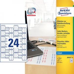 Белые полиэстеровые этикетки для маркировки проводов и кабелей, 60 x 40, J8950-10
