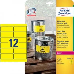Желтые высокопрочные этикетки из полиэстера, 99.1 x 42.3, L6107-20
