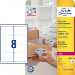 Белые непросвечивающиеся этикетки BlockOut из бумаги, 99.1 x 67.7, L7165-40