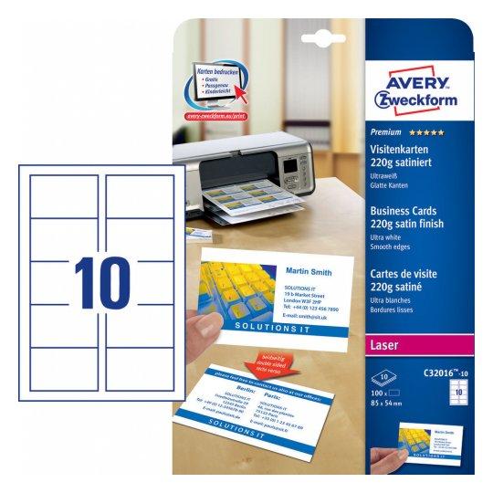 Заготовки для визитных карточек, двусторонние, 85 х 54мм, C32016-10