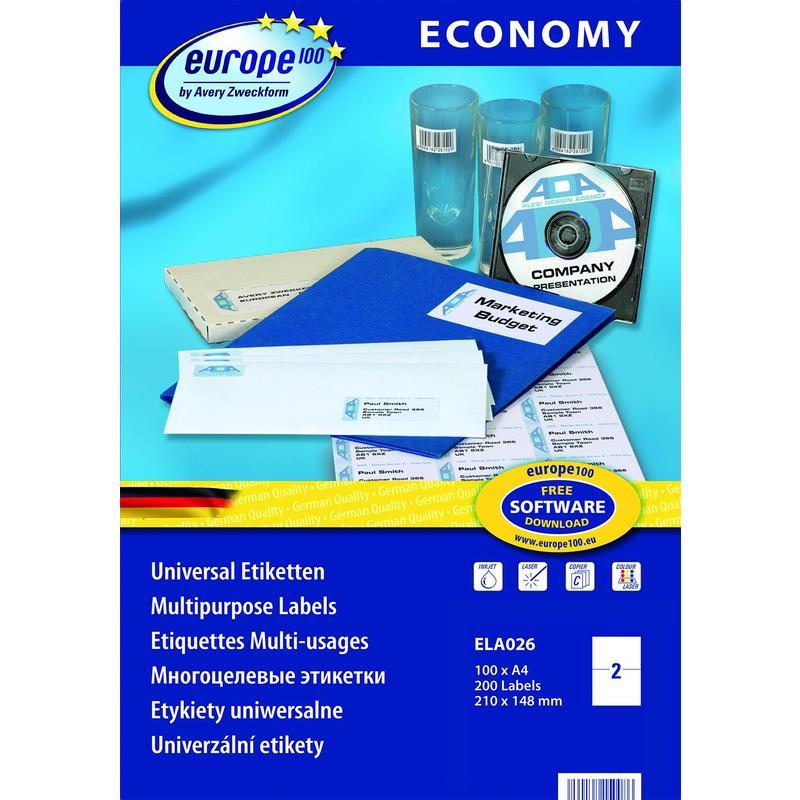 Самоклеющиеся универсальные матовые этикетки Европа-100, 210 x 148,5мм, ELA026