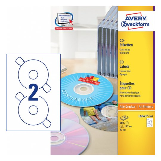 Глянцевые этикетки для CD/DVD, d117мм, L6043-100