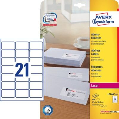 Белые адресные этикетки QuickPEEL из бумаги, 63.5 x 38.1, L7160-40