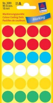 Бумажные цветные этикетки-точки в ассортименте, ? 18, 3089