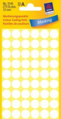 Белые этикетки-точки из бумаги, ? 12, 3145