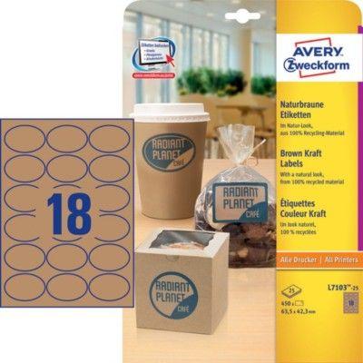 Коричневые этикетки из крафт-бумаги, 63.5 x 42.3, L7103-25