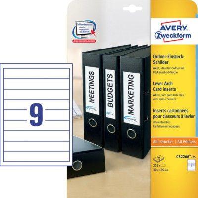 Белые вкладыши для папок-регистраторов из картона, 30 x 190, C32266-25
