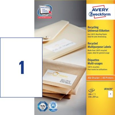 Белые универсальные эко- этикетки из бумаги, 210 x 297, LR3478