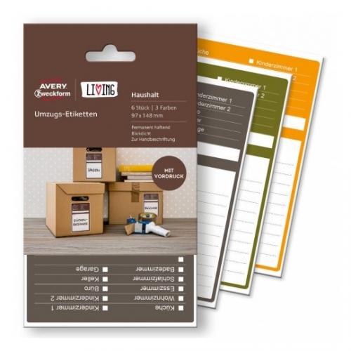 Этикетки living для коробок и переезда 97 x 148мм, 62012