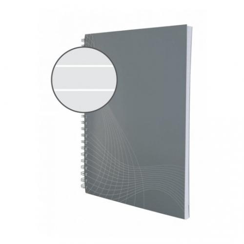 Блокнот Notizio для записей, в линейку, А5, серый, 80 л.