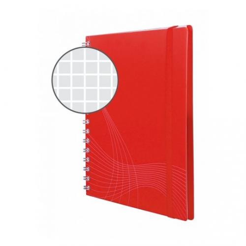 Блокнот Notizio для записей, в клетку, А5, красный, 90 л.