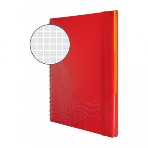 Блокнот Notizio для записей, в клетку, А6, красный, 80 л.
