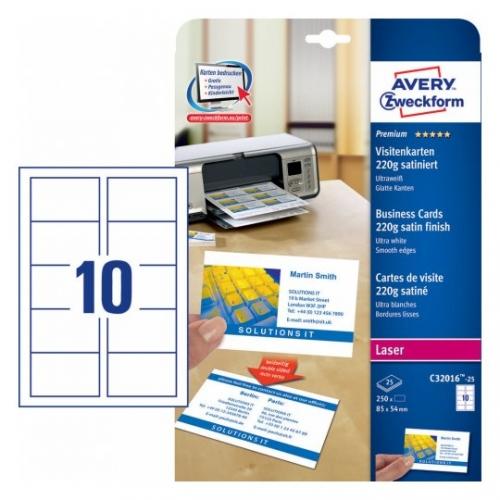 Заготовки для визитных карточек, двусторонние, 85 х 54мм, C32016-25