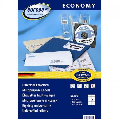 Самоклеющиеся универсальные матовые этикетки Европа-100, 105 x 48мм, ELA021