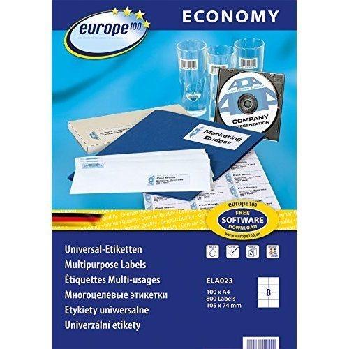Самоклеющиеся универсальные матовые этикетки Европа-100, 105 x 74мм, ELA023