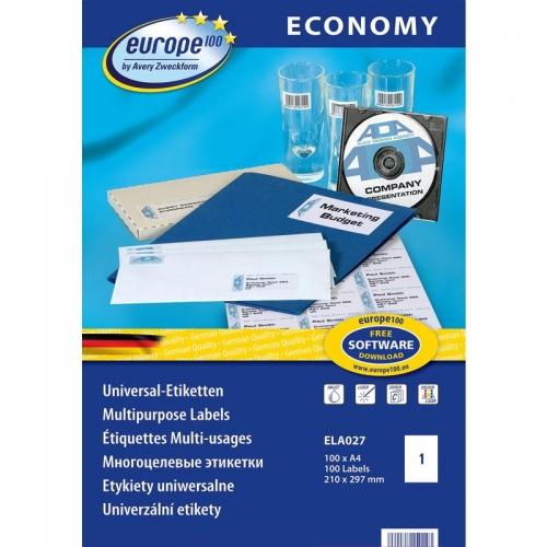 Самоклеющиеся универсальные матовые этикетки Европа-100, 210 х 297мм, ELA027