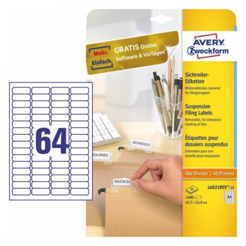Удаляемые белые этикетки из бумаги, 45,7 x 16,9мм, L6023REV-25