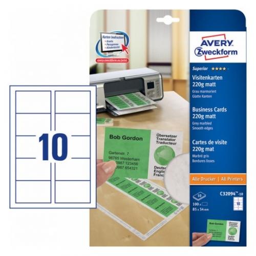 Заготовки для визитных карточек, 85 х 54мм, С32094-10