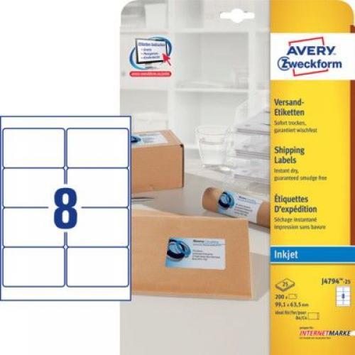 Белые адресные этикетки из бумаги, 99.1 x 63.5, J4794-25