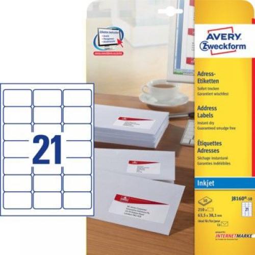 Белые адресные этикетки из бумаги, 63.5 x 38.1, J8160-10