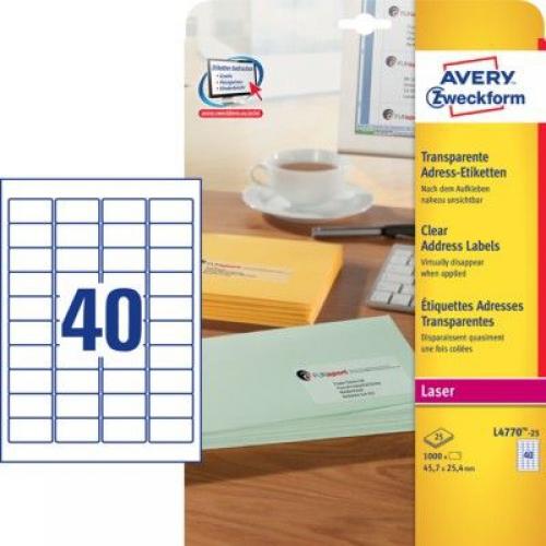 Прозрачные этикетки из полиэстера, 45.7 x 25.4, L4770-25