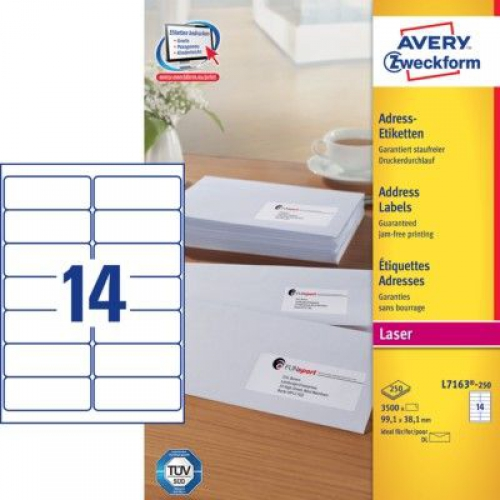 Белые адресные этикетки QuickPEEL из бумаги, 99.1 x 38.1, L7163-250