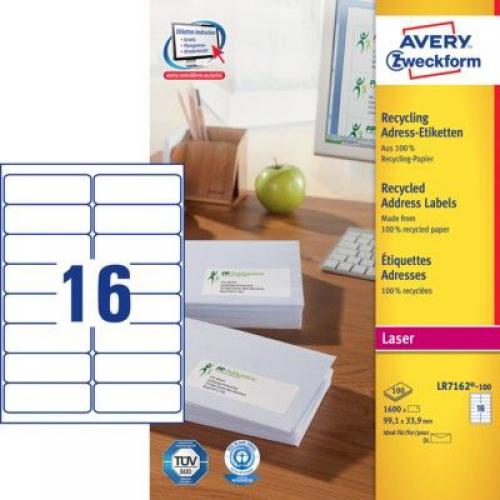 Белые эко-этикетки QuickPEEL из бумаги, 99.1 x 33.9, LR7162-100
