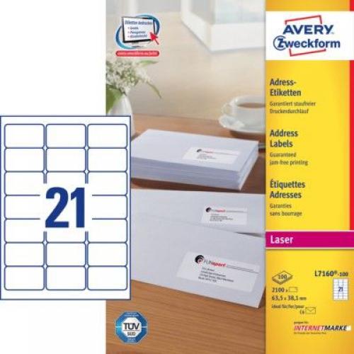 Белые адресные этикетки QuickPEEL из бумаги, 63.5 x 38.1, L7160-100